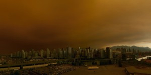 Vancouver under the smog from wildfires.